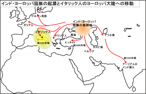 インド・ヨーロッパ語族の起源とイタリック人のヨーロッパ大陸への移動