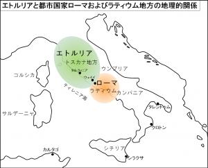 エトルリアと都市国家ローマおよびラティウム地方の地理的関係