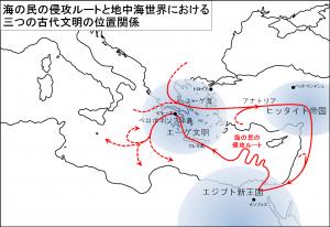 海の民の侵攻ルートと地中海世界における三つの古代文明、エーゲ文明、ヒッタイト帝国、エジプト新王国の位置関係
