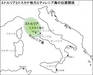 エトルリアとトスカナ地方とティレニア海の位置関係