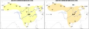 後漢の時代の漢帝国の最大版図(紀元後100年頃)と前漢の時代の漢帝国の最大版図(紀元前100年頃)