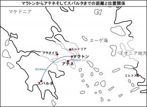 マラトンからアテネそしてスパルタまでの距離と位置関係