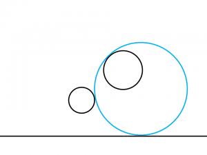 解答例4:左の円の右側に外接して右の円の左上に内接する円