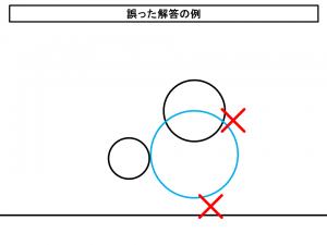 誤った解答の例(左の円とは接しているが右の円とは交わっていて下の直線からは離れている)