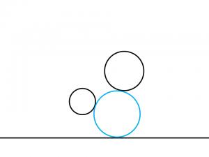 解答例2:左の円の右下と右の円の左下に外接する円
