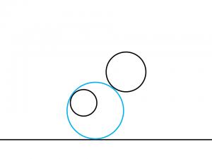 解答例3:左の円の左上に内接して右の円の左下に外接する円