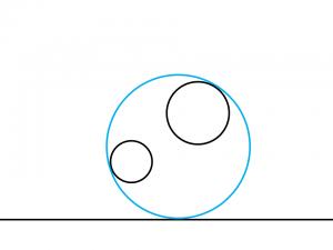 解答例1:左の円の左下と右の円の右上に内接する円
