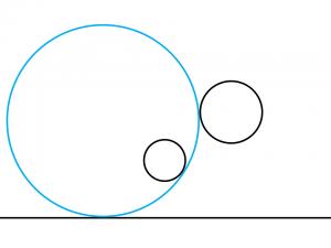 解答例5:左の円の右下に内接して右の円の左側に外接する円