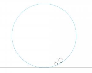 解答例7:左の円と右の円の右下に内接する円