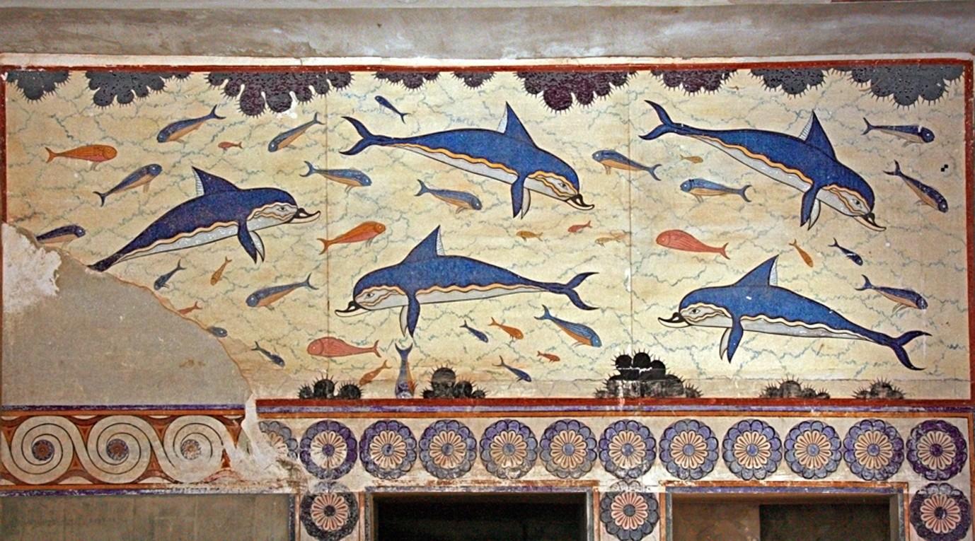 クノッソス宮殿のイルカのフレスコ画