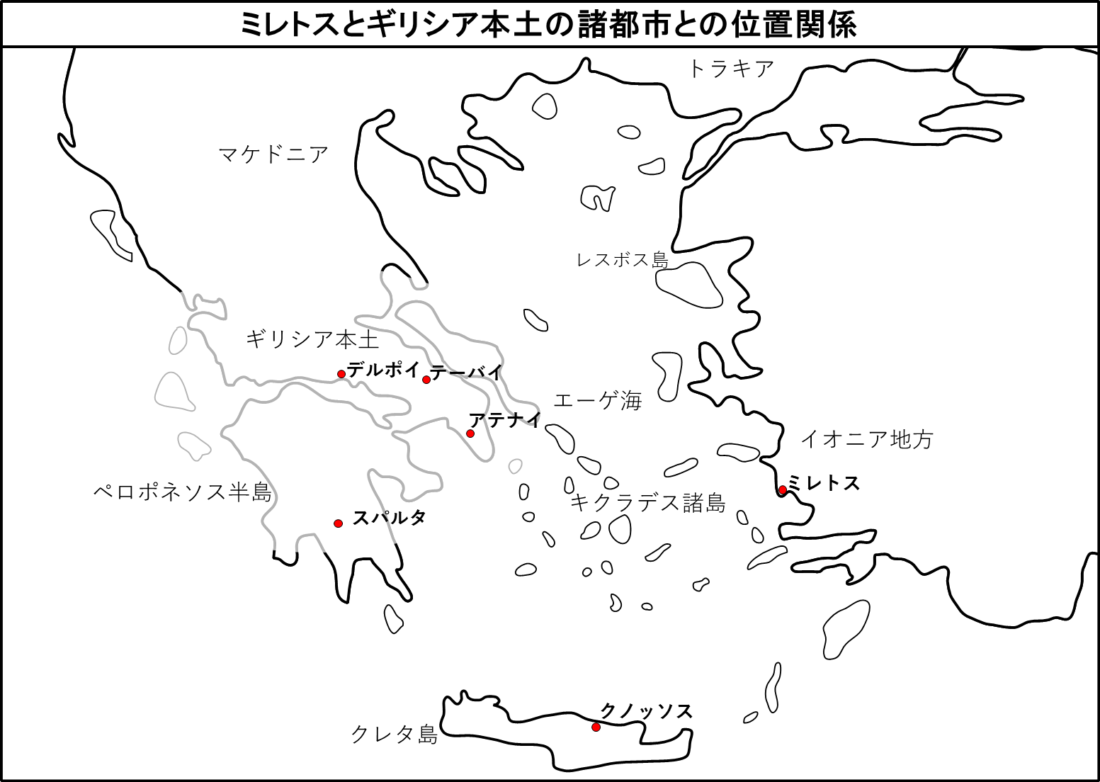 ミレトスとギリシア本土の諸都市との位置関係