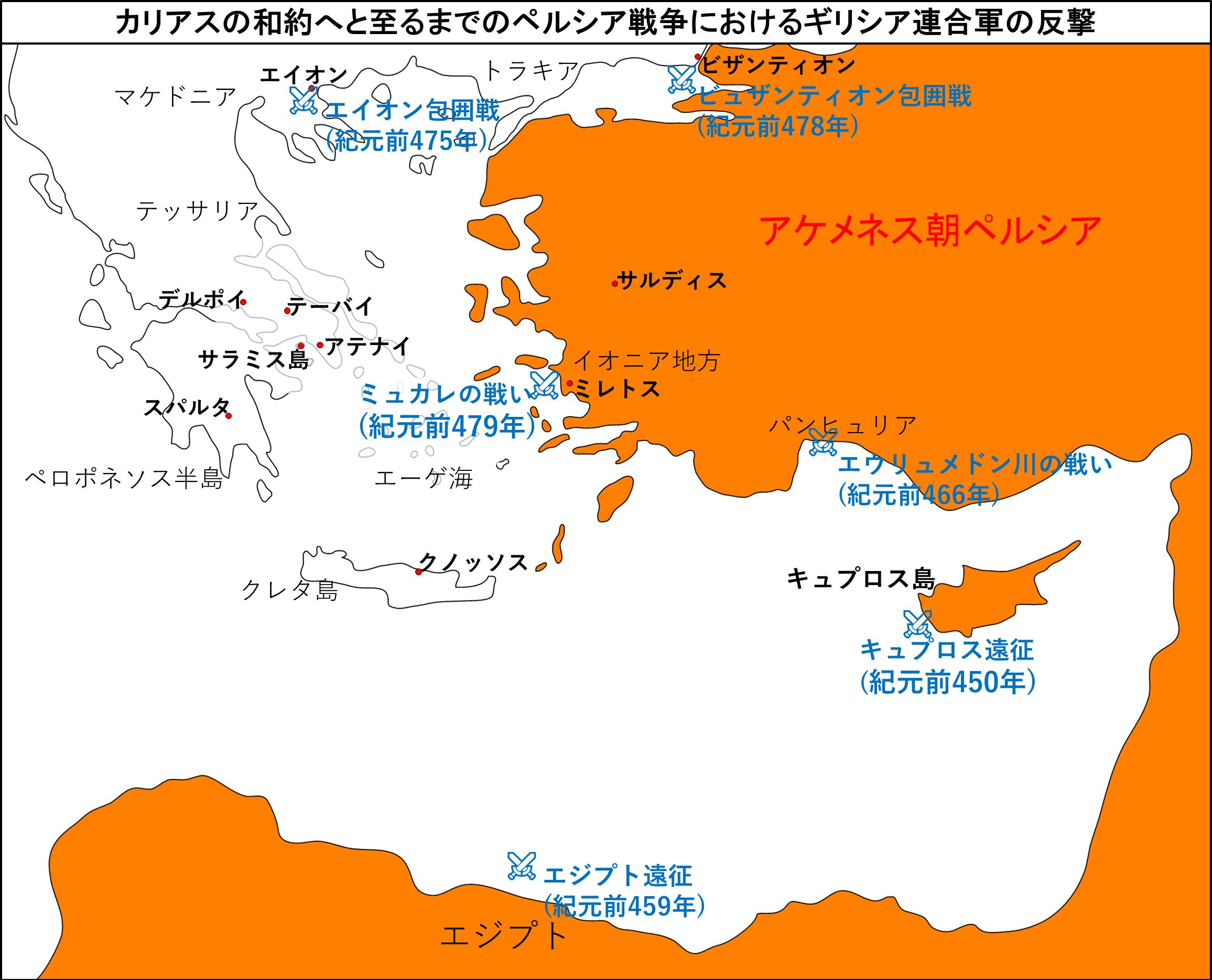 カリアスの和約へと至るまでのペルシア戦争におけるギリシア連合軍の反撃