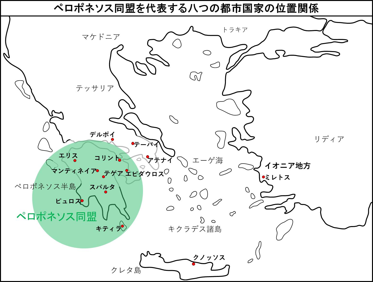 ペロポネソス同盟を代表する八つの都市国家の位置関係