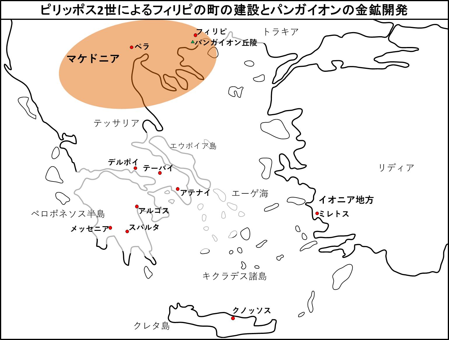 ピリッポス2世によるフィリピの町の建設とパンガイオンの金鉱開発